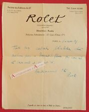 L.A.S 1939 Rosita MATZA Hebdo ROLET Lettre Vigny Charles Derennes Château Blanat