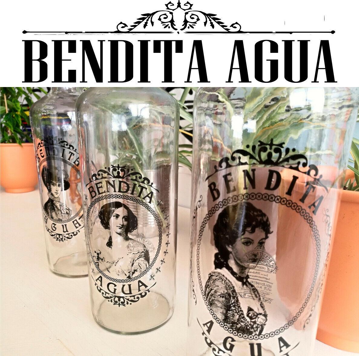 BENDITA AGUA Botellas DE Cristal 1 litro Colección DAMAS (3 Piezas)