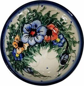 "Boleslawiec Polish Pottery UNIKAT Mini Bowl /""Wild Roses/"""