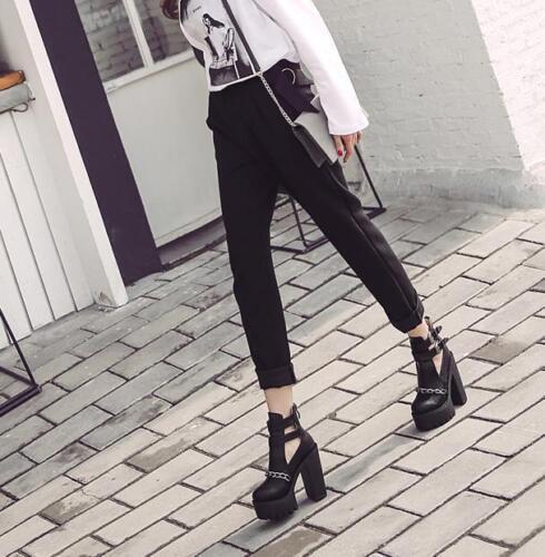 13CM Gothic Women Punk Chunky High Heel Hollow Chain Buckle Platform Boots Ske15