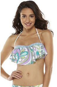 Apt-9-Women-039-s-Size-S-M-L-XL-White-Mint-Purple-Flouncy-Bandeau-Bikini-Swim-Top