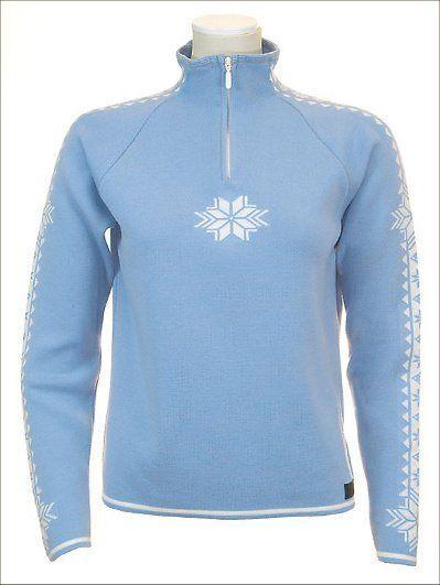Women's bluee White Dale of Norway Geilo Slaata Feminine Wool Sweater, Size L