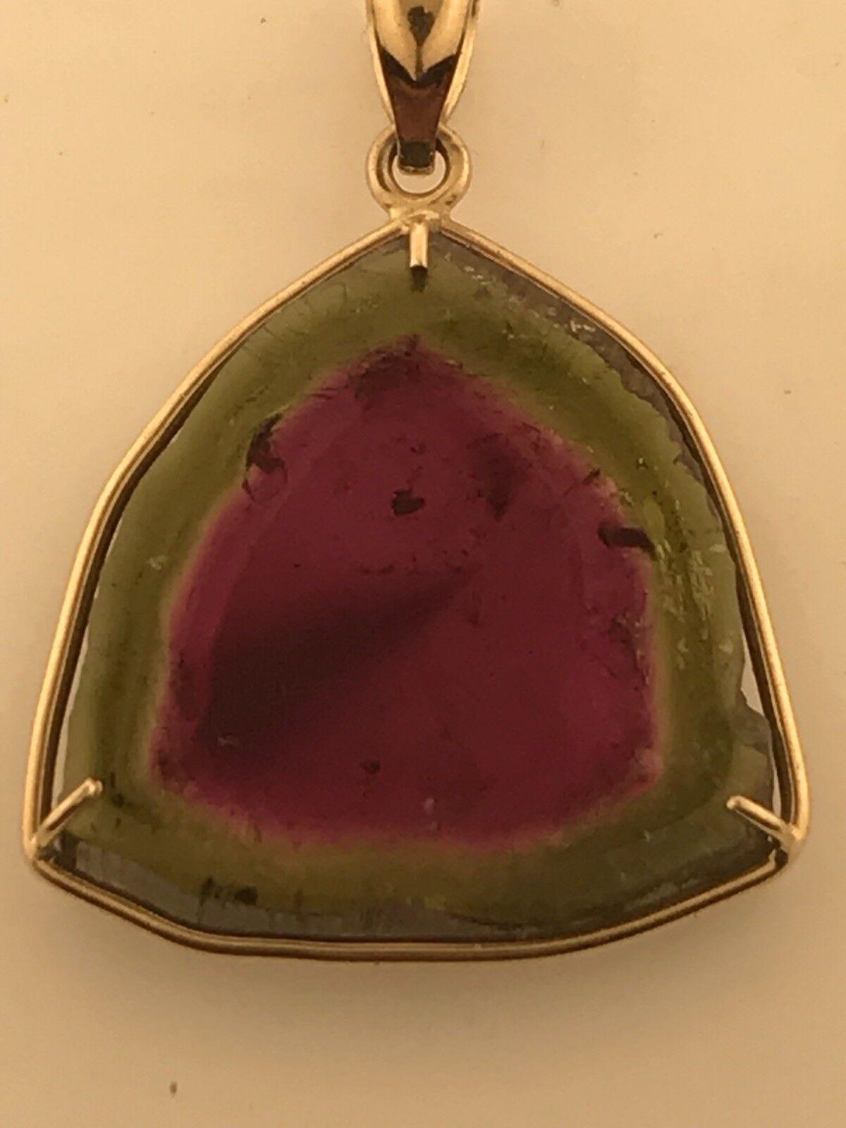 14k Yellow gold 25.26 Ct Watermelon Tourmaline Slice Pendant, 6.1 Grams