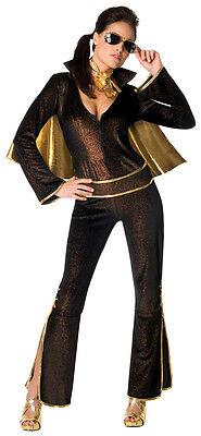 Elvis Female Rock Star Black Gold Jumpsuit Sexy Dress Up Halloween Adult Costume