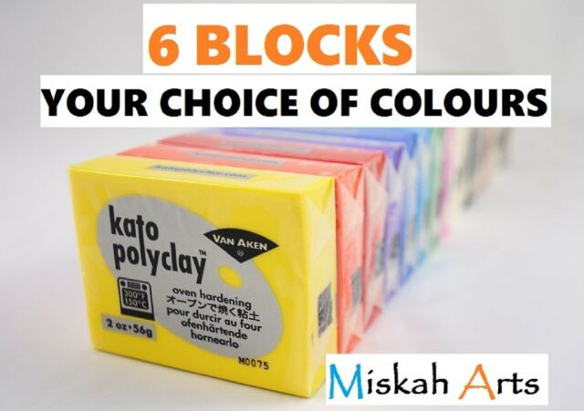 KATO POLYCLAY - Polymer Clay - 56g -  6 BLOCKS - YOUR CHOICE OF COLOURS