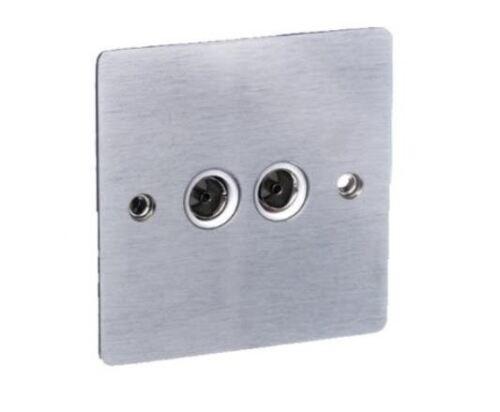 Brushed Chrome Double TV FM outlet socket White Insert Ultra Slim WC1GTV