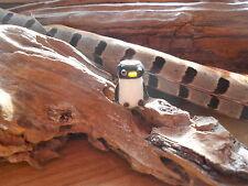 Dreadlock Beads Cute Penguin Handmade Silver Lined Lampwork  Dread Bead 5mm Hole