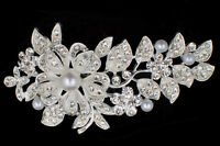 Bridal Hair Comb Wedding Silver & Crystal Pearl Combs Slide Clip Tiara Gift (33)