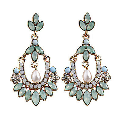 Women Flower Chandelier Earrings Acrylic Crystal Rhinestone Pearl Ear Stud New