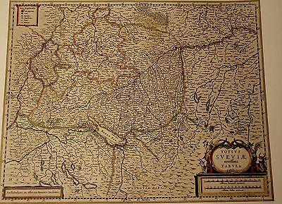 Historische Landkarte Schwaben Esslingen Stuttgart Nurtingen