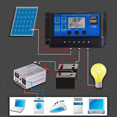 FAMKIT Regolatore di carica del pannello solare 30A 50V Input Parametro Regolabile Display LCD Corrente//Capacit/à e Timer Impostazione On//Off con 5V Dual USB IPX32 wterproof