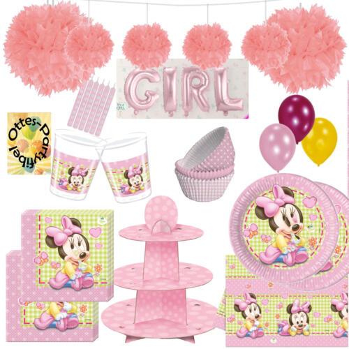 Baby Minnie Riesen Partyset 142tlg  Muffinständer Muffinförmchen Girlande uvm.