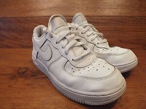new collection excellent quality top fashion Details about Nike Air Force One White Leather Casual Trainer UK 2 EU 34