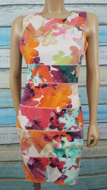 CALVIN KLEIN  Size 8P Multicolor Knee Length Polyester Blend Sheath Dress
