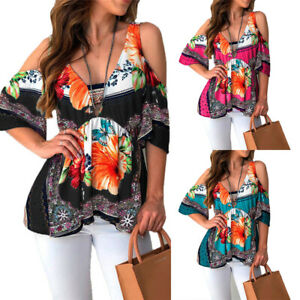 Womens-Floral-Cold-Shoulder-Tunic-Tops-Short-Sleeve-Blouse-Casual-Boho-T-Shirt