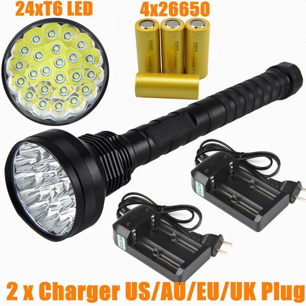 32000 Lumen 24x CREE XM-L T6 LED 5 Modes Flashlight Torch Camping Light 4x 26650