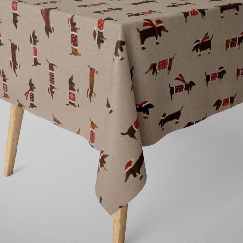 SCHÖNER LEBEN. Tischdecke Dackel Dachshund natur braun verschiedene Größen