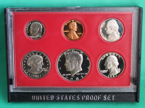 1981 S United States Mint Annual 6 Coin Proof Set with Original Box as Issued