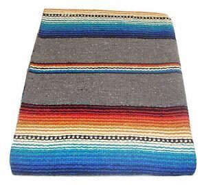 776-Mexican-Heavy-Serape-Saltillo-Falsa-Blanket-Authentic-Original-Silver-Bright