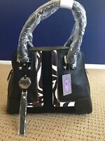 Sharif Colorblock Satchel Handbag Black W/ White Trim
