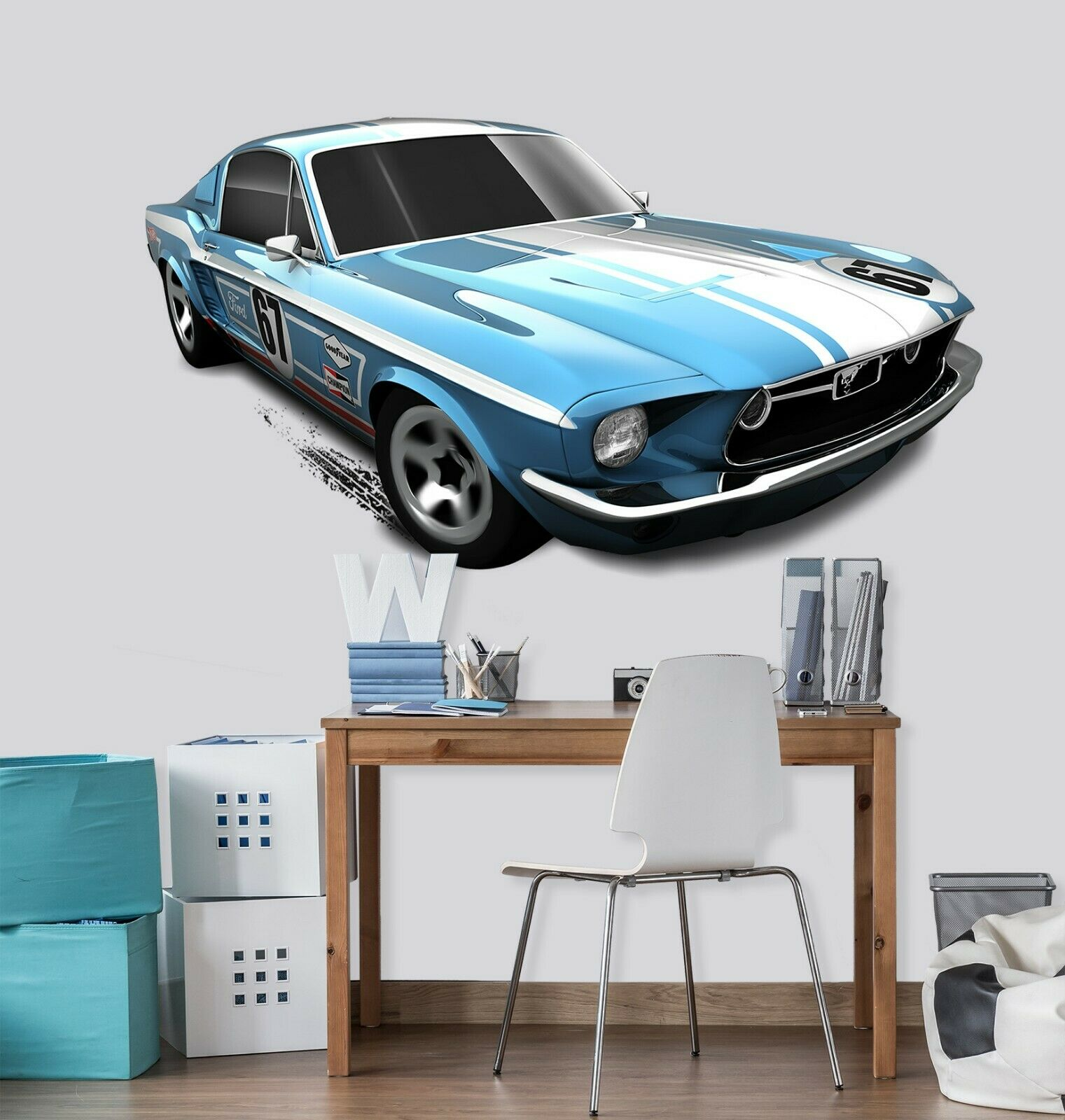 3D Mustang N05 Car Wallpaper Mural Poster Transport Wall Stickers Amy