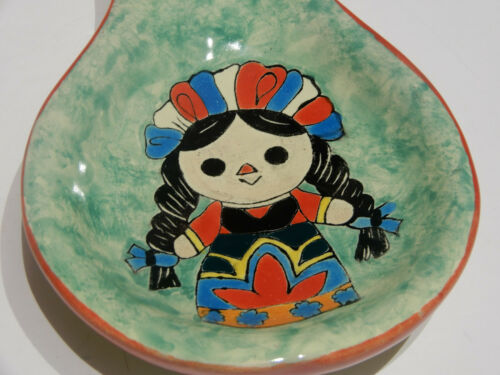 Hand Painted Mexican Girl On Spoon Rest Details about  /Kitchen Talavera Ceramic Spoon Rest