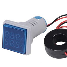 Square Digital Led Panel Mount Ac 60500v 100a Voltmeter Ammeter Dual Display