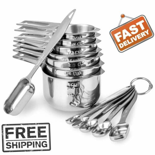 13 piece Measuring Cups and Spoons Set 18//8 Stainless Steel Heavy Duty Good Grip