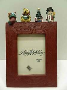 Christmas-Holiday-Tree-Snowman-Photo-Picture-Frame-Red-Vertical