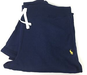 Polo-Ralph-Lauren-Sweat-Pants-Mens-XL-Navy-Blue-Yellow-Pony-Cotton