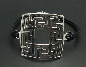 Sterling-Silber-Armband-Maeander-mit-Leder-massiv-punziert-925-handgefertigt