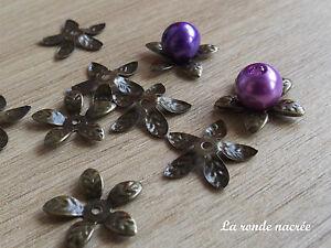 100-COUPELLES-CAPS-CALOTTES-bronze-forme-fleur-15-mm-de-diametre