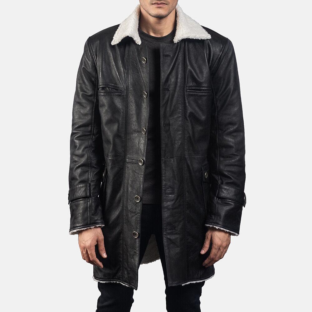 Long Bane Coat Men Trench Coat For Winter Genuine Lambskin leather Furr Lining