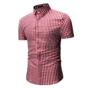 Stylish-slim-fit-floral-short-sleeve-formal-men-039-s-dress-shirt-t-shirt-luxury