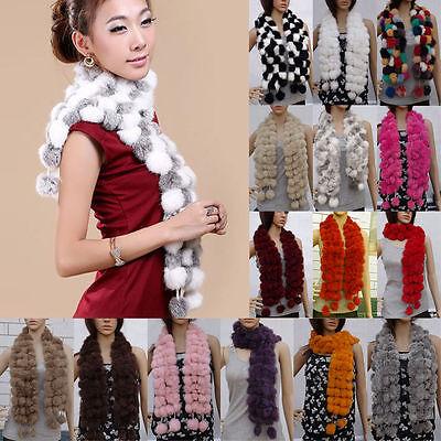 Winter Women Faux Rabbit Fur Scarf Neck Warmer Shawl Muffler Wrap Wraper Balls
