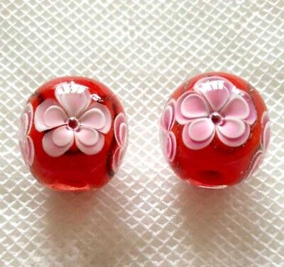 10pcs exquisite handmade Lampwork glass beads red pink flower round 15mm