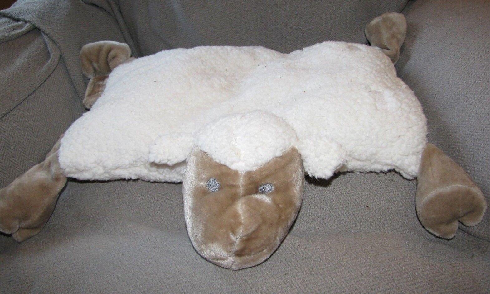 BOOKS ARE FUN STUFFED PLUSH SHEEP LAMB PILLOW ANIMAL TOY CREAM IVORY TAN