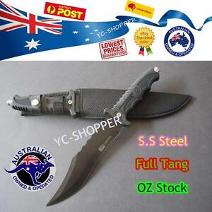 Hunting-Knife-Razor-Sharp-Camping-Military-Outdoor-Survival-SS-Steel-AU-Stock