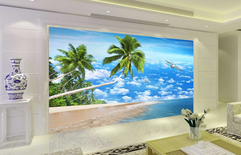 3D Sky Seabirds Palm Tree Paper Wall Print Wall Decal Wall Deco Indoor Murals