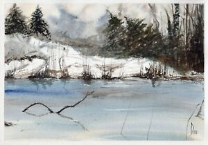 In-The-Forest-original-watercolor-winter-landscape-painting-tree-pine-lake-art