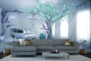VLIES FOTOTAPETE Baum blau Tapete XXL Vliestapete