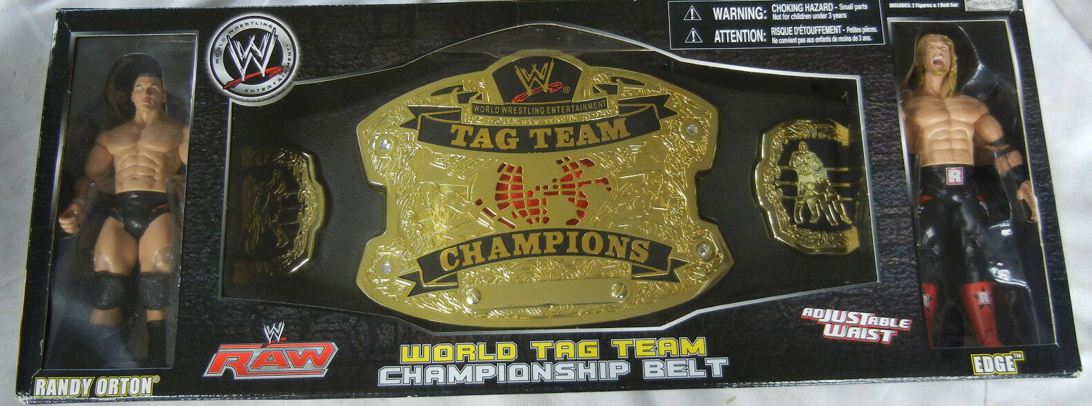 WWE Wrestling WORLD TAG CHAMPIONSHIP BELT & EDGE & RANDY ORTON NeW In Box JAAKS