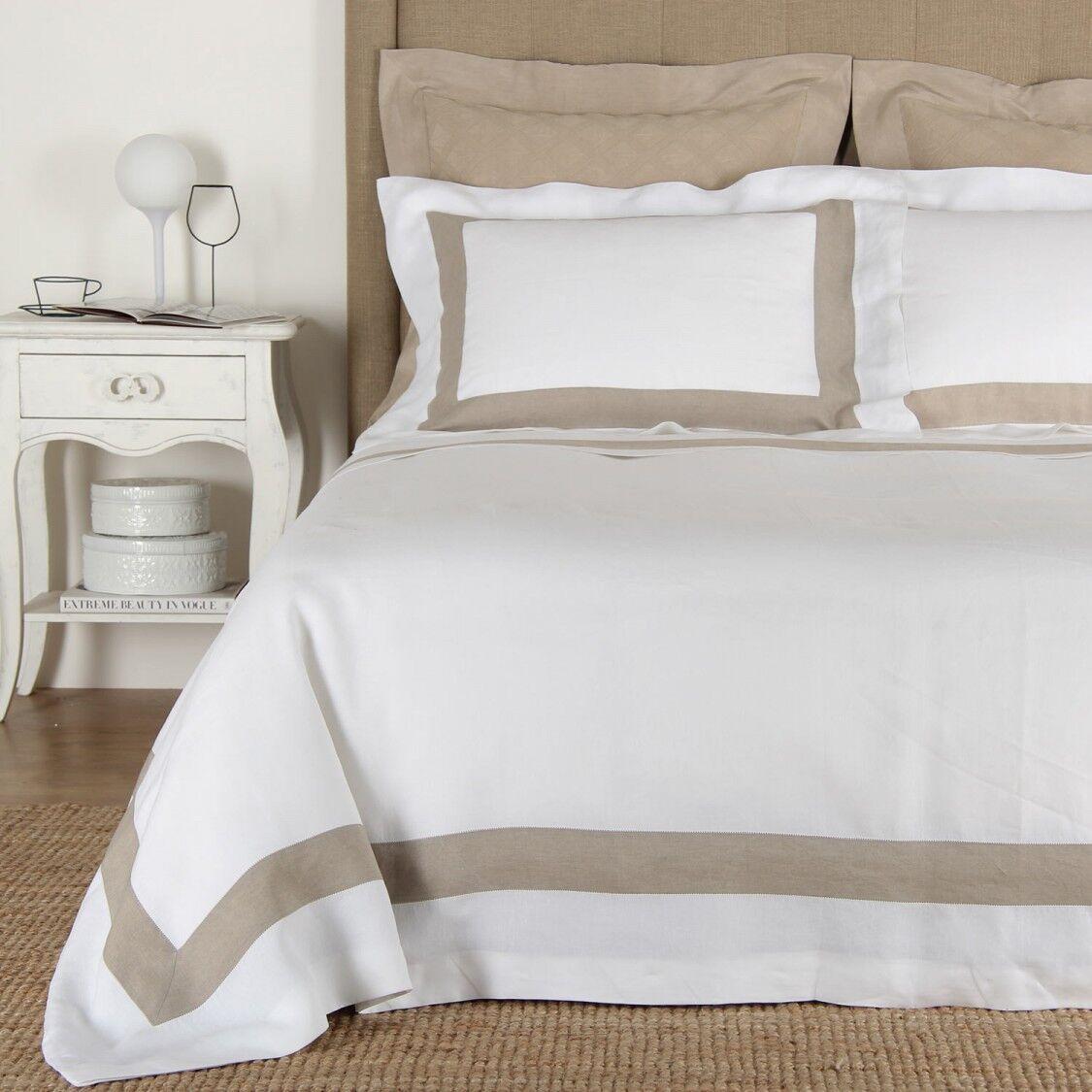 Frette Bicolor Euro Sham White Sandstone 290 TC 100% Cotton   225 W1577