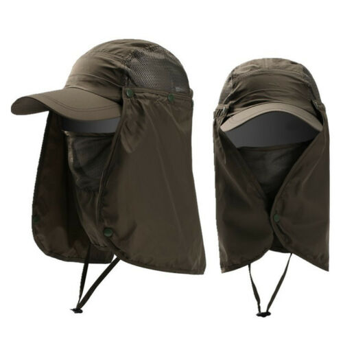 Mens Womens Camping Fishing Sports Hat UV Protect Face Neck Flap Sun Bucket Hat