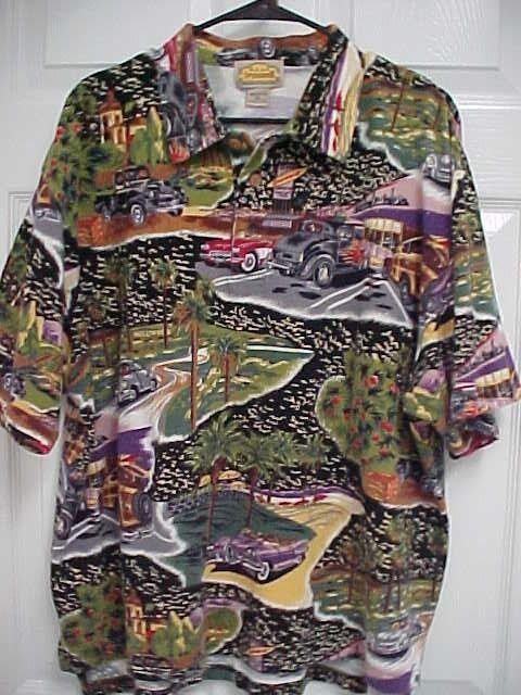 REYN SPOONER Men Hollywood Vintage Cars Palm Trees Short Sleeve Polo Shirt M