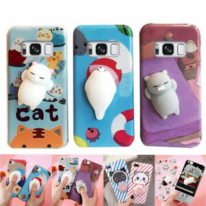 lowest price b4998 ef1b1 Details about New Squishy 3D Anti Stress Lazy Cat Silicone Phone Case For  Samsung S8 Plus S7