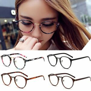 e41f8a2e29f3 Women Men Round Clear Lens Glasses Hipster Frame Nerd Geek Eye ...