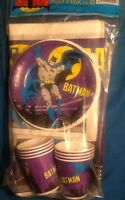 Batman Vintage 80's Comic Book Party Pack For 8 Kids 25 Pieces Mint Cups Plates
