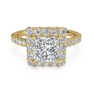 1.25 Ct Princess Moissanite Anniversary Superb Ring 18K Solid Yellow Gold Size 6