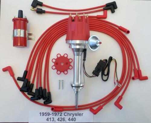 Plug Wires small cap 59-72 CHRYSLER 413 426 440 HEI Distributor Red 45k Coil